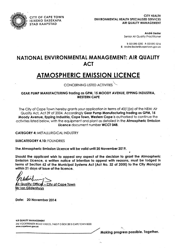 GPM Atmospheric Licence