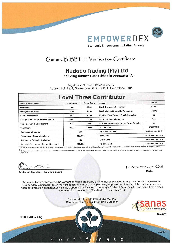 Gear Pump Manufacturing B-BBEE Certificate