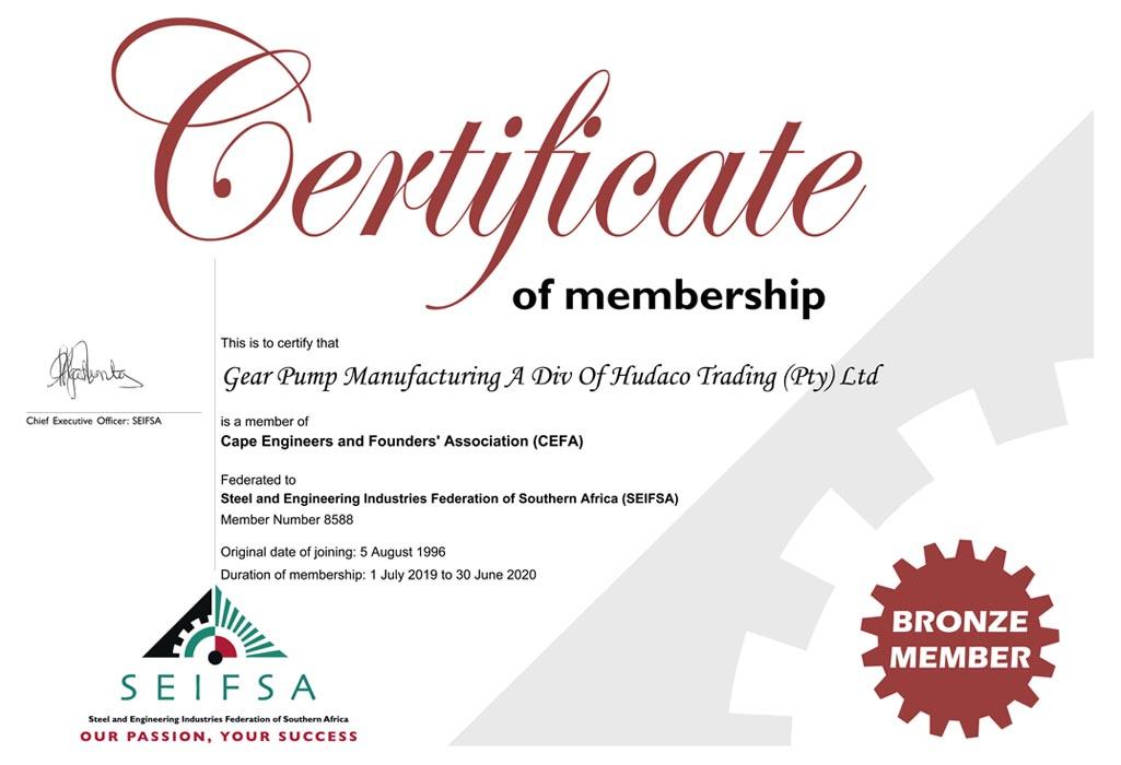 GPM SEIFSA Certificate