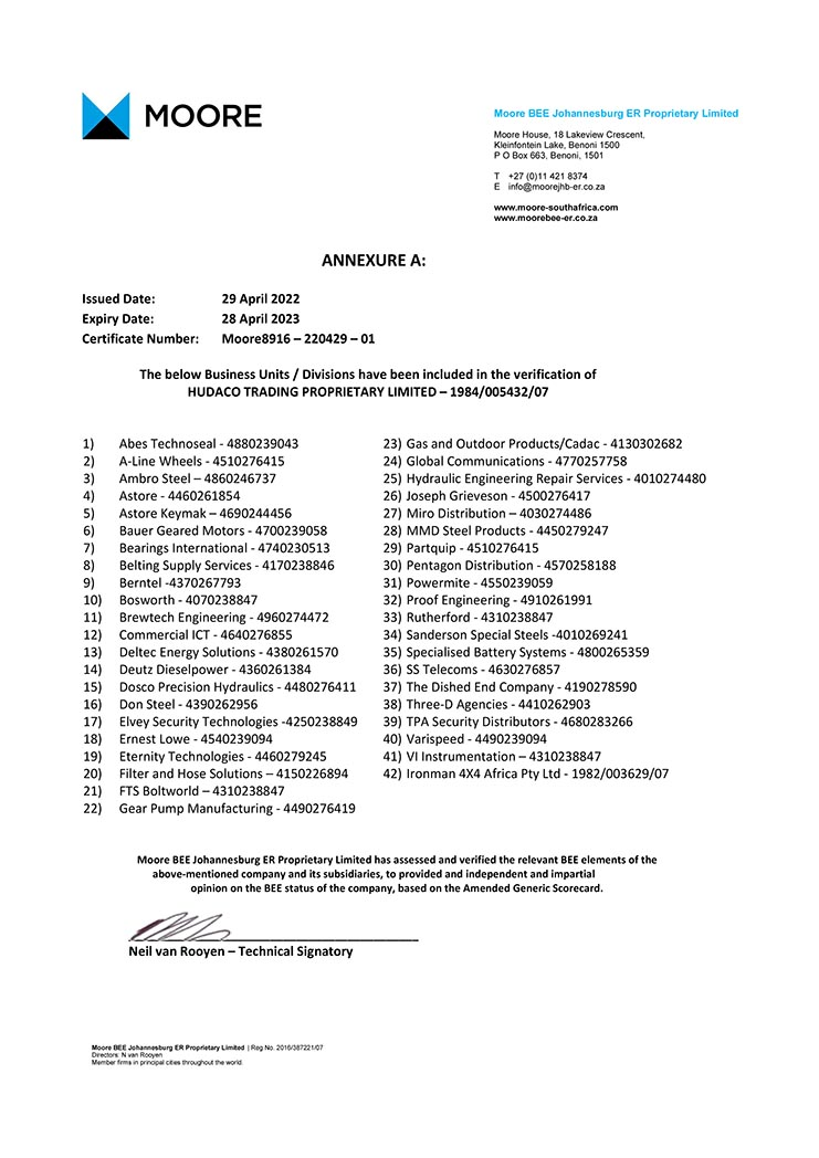 Gear Pump Manufacturing B-BBEE Certificate page 2