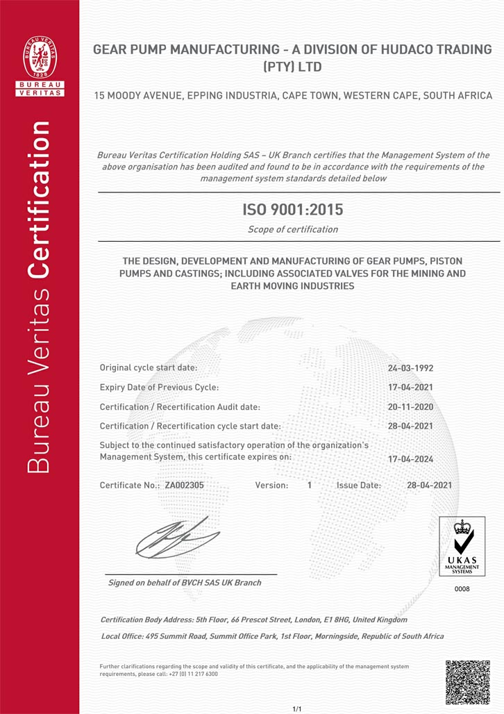Gear Pump Manufacturing ISO 9001-2015 Certificate